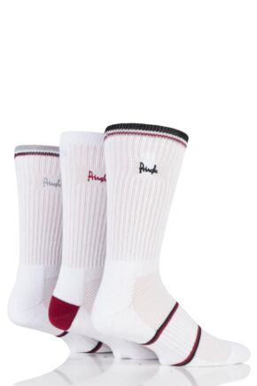 Mens 3 Pair Pringle Sport Socks with Arch Support and Venting White / Red 7-11