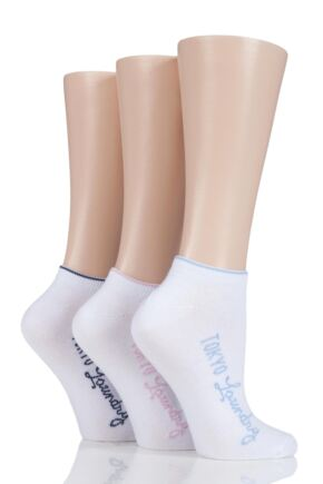 Ladies 3 Pair Tokyo Laundry Cotton Trainer Socks