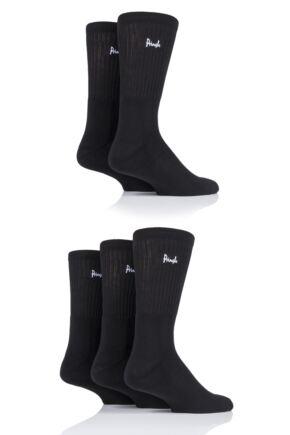 Mens 5 Pair Pringle Half Cushioned Sports Socks Black 7-11 Mens