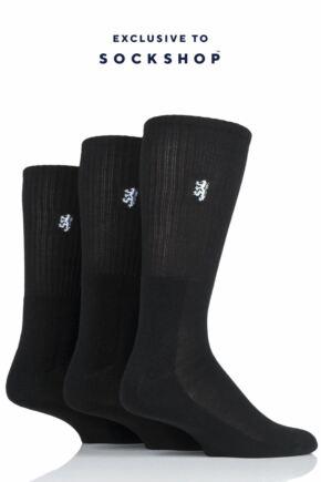 Mens 3 Pair Pringle Bamboo Cushioned Sports Socks Exclusive To SOCKSHOP Black Bamboo 12-14 Mens