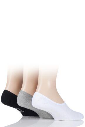Mens 3 Pair Pringle Plain Cotton Cushioned PED Socks