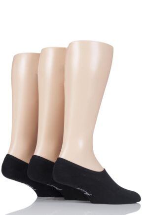 Mens 3 Pair Pringle Plain Cotton Cushioned PED Socks Black 7-11 Mens