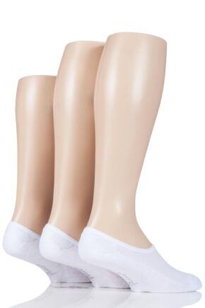 Mens 3 Pair Pringle Plain Cotton Cushioned PED Socks White 6-11 Mens