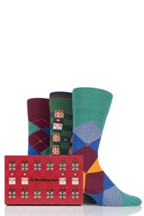 Mens 3 Pair Burlington Christmas Argyle Mixed Cotton Socks In Gift Box