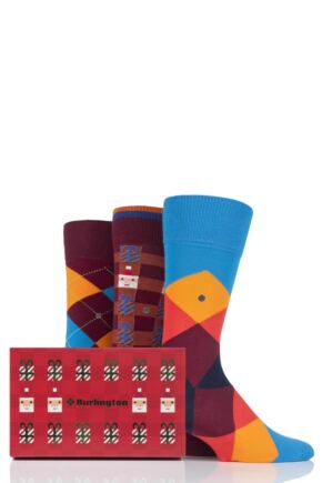 Mens 3 Pair Burlington Christmas Argyle Mixed Cotton Socks In Gift Box Burgundy 6.5-11 Mens