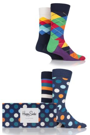 Mens and Ladies 4 Pair Happy Socks Bright Mix Combed Cotton Socks In Gift Box