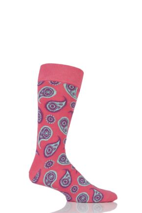 Mens and Ladies 1 Pair Happy Socks Paisley Combed Cotton Socks Pink 4-7 Unisex