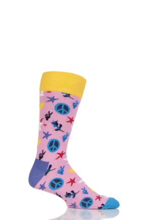 Mens and Ladies 1 Pair Happy Socks Peace and Love Combed Cotton Socks Pink 7.5-11.5 Unisex