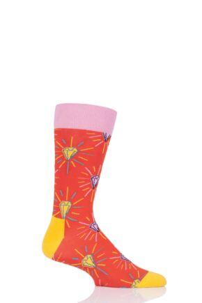 Mens and Ladies 1 Pair Happy Socks Pink Panther Pink Plunk Plink Cotton Socks