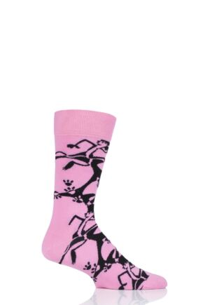 Mens and Ladies 1 Pair Happy Socks Pink Panther Pink a Boo Cotton Socks
