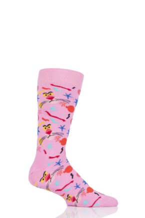Mens and Ladies 1 Pair Happy Socks Pink Panther Bomb Voyage Cotton Socks
