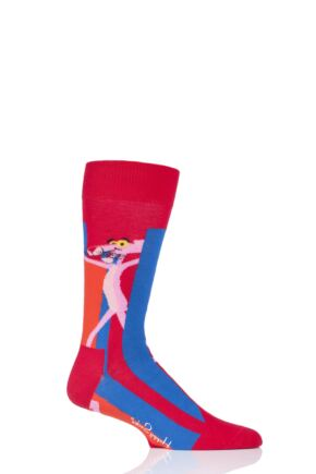 Mens and Ladies 1 Pair Happy Socks Pink Panther Smile Pretty Stay Pink Cotton Socks