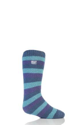 Kids 1 Pair Heat Holders Long Leg Striped Thermal Socks Pastal 9-12 Kids
