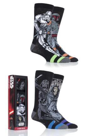 Mens 4 Pair SOCKSHOP Disney Star Wars Villains Darth Vader, Boba Fett, Emperor and Stormtrooper Socks In Gift Box