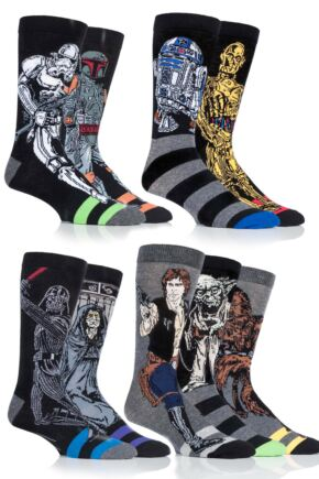 Mens 9 Pair SockShop Star Wars Original Heroes and Villains Cotton Socks