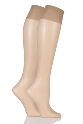 Ladies 2 Pair Pretty Polly Naturals 8 Denier Knee Highs