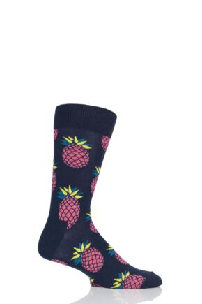 Mens and Ladies 1 Pair Happy Socks Fruits Combed Cotton Socks Pinapple 4-7 Unisex
