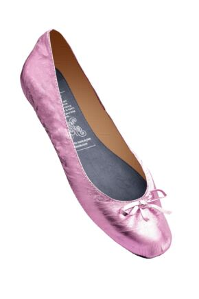 Ladies 1 Pair Rollasole Pink Rollable After Party Shoes to Keep in Your Handbag