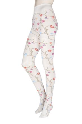 Ladies 1 Pair Trasparenze Platino Floral Knit Opaque Tights White Small