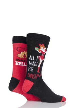 Mens 2 Pair SockShop Christmas Novelty Socks In Gift Box - All I Want For Christmas and Jingle My Bells 25% OFF This Style