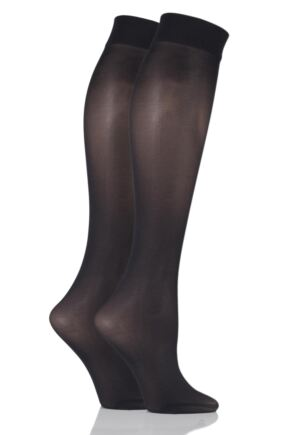 Ladies 2 Pair Pretty Polly 40 Denier Knee Highs