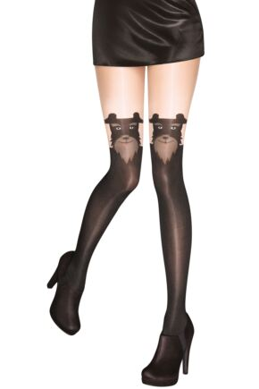 Ladies 1 Pair Pretty Polly Pretty Barking Mock Hold Up Tights