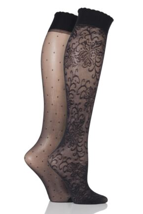 Ladies 2 Pair Pretty Polly Floral And Spot Knee Highs