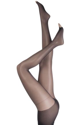 Ladies 1 Pair Pretty Polly Naturals 8 Denier Open Toe Tights