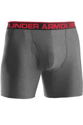 Mens 1 Pair Under Armour The Original Series BoxerJock 6-Inch Inseam Boxers Grey Heather / Red XL