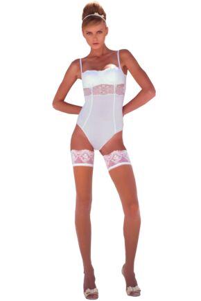 Ladies 1 Pair Trasparenze Psiche 20 Denier Lace Band Bridal Hold Ups 50% OFF White Small/Medium