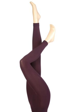 Ladies 1 Pair Heat Holders 0.52 Tog Leggings In Purple