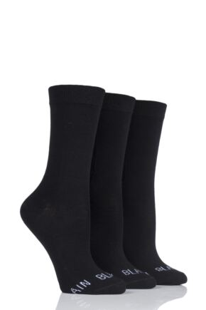 Ladies 3 Pair SockShop Wild Feet 'Plain Black Socks' Crew Socks