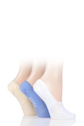 Ladies 3 Pair SOCKSHOP Wild Feet Plain Cotton Loafer Ped Socks Purple 4-8 Ladies