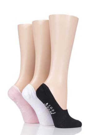Ladies 3 Pair SockShop Wild Feet Plain Cotton Loafer Ped Socks