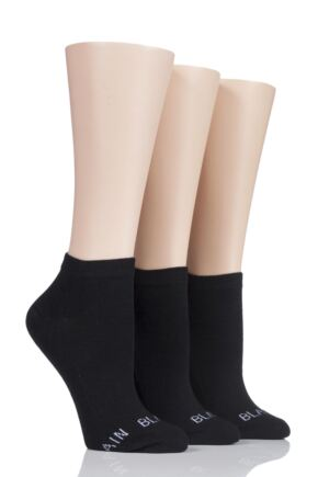 Ladies 3 Pair SockShop Wild Feet 'Plain Black Socks' Trainer Socks