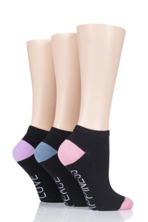 Ladies 3 Pair SockShop Wild Feet Slogan Cotton Trainer Socks