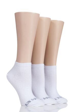 Ladies 3 Pair SockShop Wild Feet 'Plain White Socks' Trainer Socks