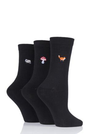 Ladies 3 Pair SOCKSHOP Wild Feet Embroidered Countryside Cotton Socks