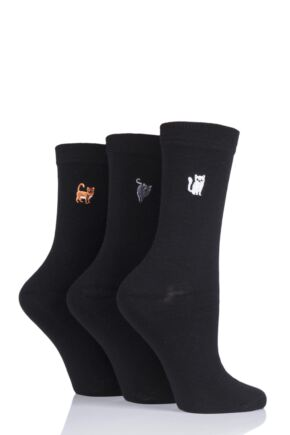 Ladies 3 Pair SockShop Wild Feet Embroidered Animal Socks Cats 4-8 Ladies