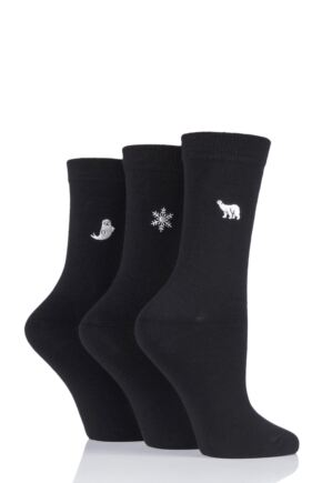 Ladies 3 Pair SOCKSHOP Wild Feet Embroidered Arctic Winter Socks