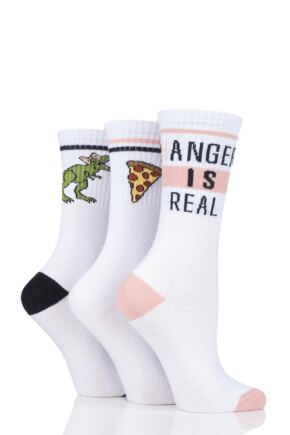 Ladies 3 Pair SockShop Wild Feet Slogan Cotton Sports Socks