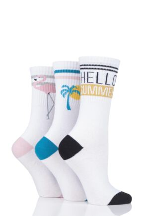 Ladies 3 Pair SOCKSHOP Wild Feet Slogan Cotton Sports Socks