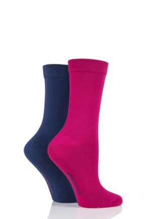 Ladies 2 Pair SOCKSHOP Plain and Patterned Bamboo Socks with Smooth Toe Seams