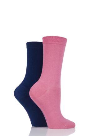 Ladies 2 Pair SockShop Plain Bamboo Socks with Smooth Toe Seams sale sale