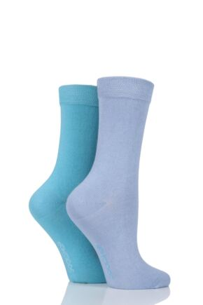 Ladies 2 Pair SockShop Plain Bamboo Socks with Smooth Toe Seams
