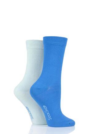 Ladies 2 Pair SOCKSHOP Plain Bamboo Socks with Smooth Toe Seams