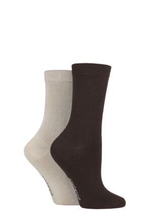 Ladies 2 Pair SOCKSHOP Plain and Patterned Bamboo Socks with Smooth Toe Seams Cocoa