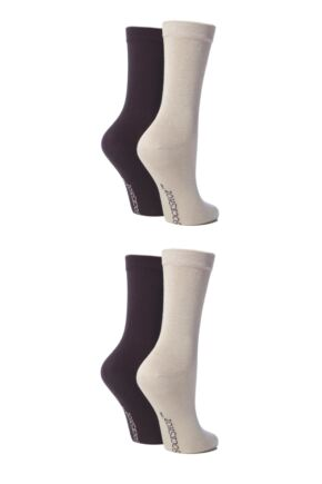 Ladies 4 Pair SOCKSHOP Bamboo Socks with Smooth Toe Seams