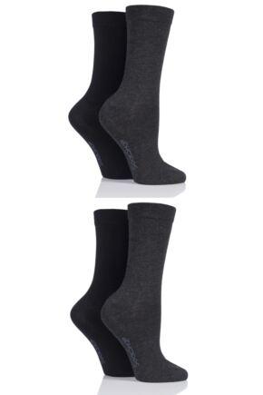 Ladies 4 Pair SOCKSHOP Bamboo Socks with Smooth Toe Seams