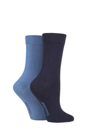 Ladies 2 Pair SOCKSHOP Plain and Patterned Bamboo Socks with Smooth Toe Seams Navy